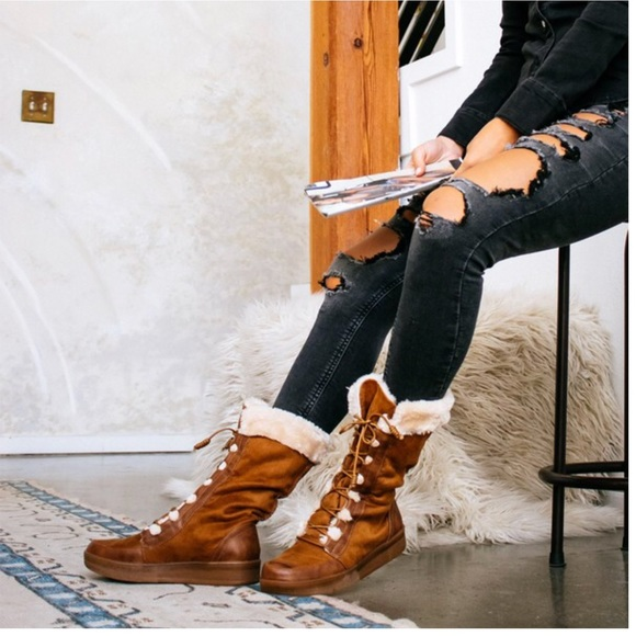 4c82b4fa392 Camel Lace Up Fur Trimmed Winter Boots